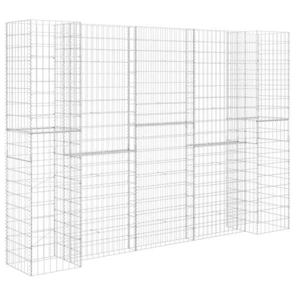 Jardinieră gabion în formă de H, 260 x 40 x 200 cm, sârmă oțel