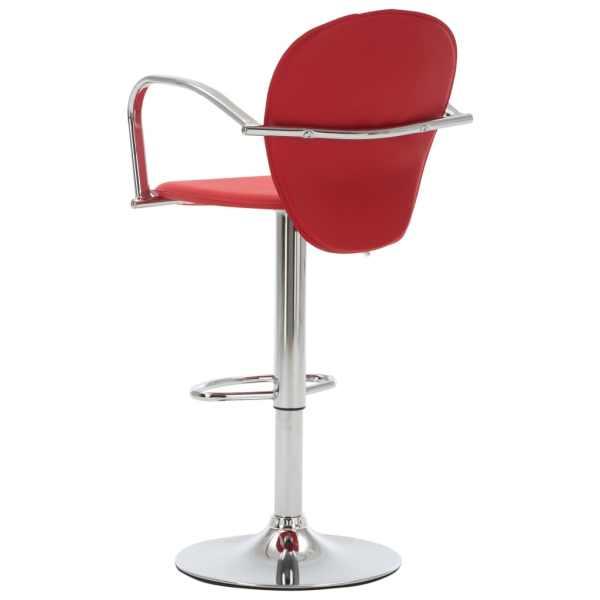 Scaun de bar cu brațe, roșu, piele ecologică