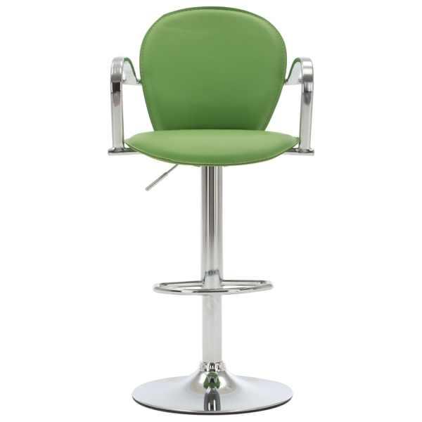 vidaXL Scaun de bar cu brațe, verde, piele ecologică