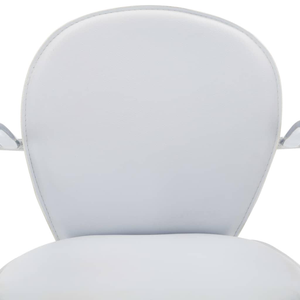 Scaune de bar cu brațe, 2 buc., alb, piele ecologică