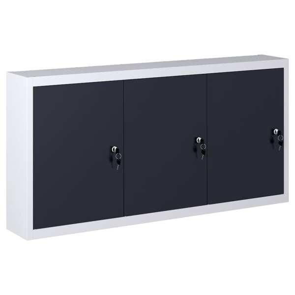 vidaXL Dulap de scule de perete, gri & negru, metal, stil industrial