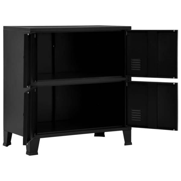 Fișet cu 4 uși, negru, 75 x 40 x 80 cm, oțel, industrial