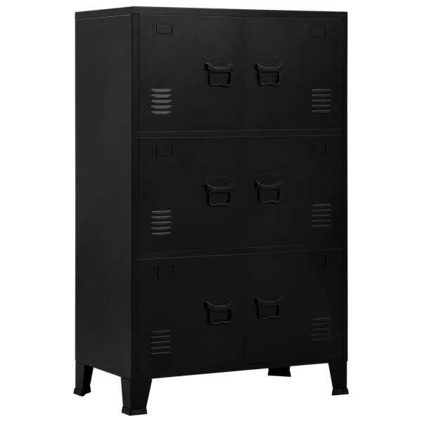 vidaXL Fișet cu 6 uși, negru, 75 x 40 x 120 cm, oțel, industrial