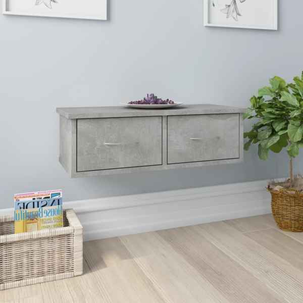 vidaXL Dulap de perete cu sertare, gri beton, 60x26x18,5 cm, PAL
