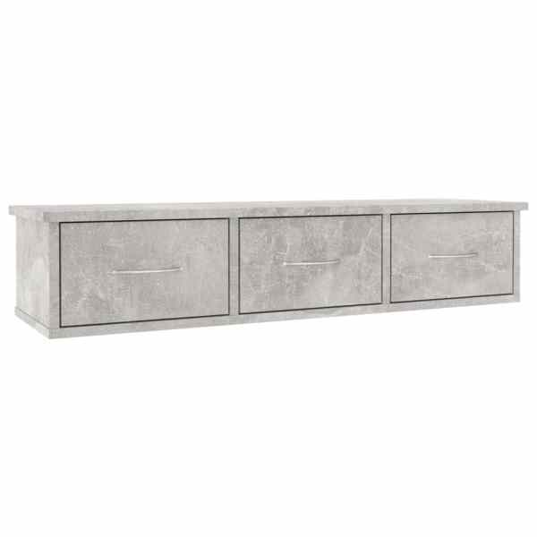vidaXL Dulap de perete cu sertare, gri beton, 88x26x18,5 cm, PAL