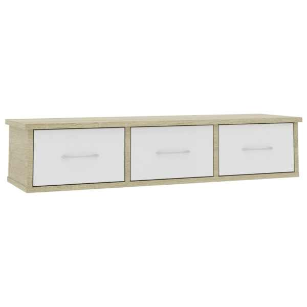 Dulap de perete cu sertare, alb și stejar, 88x26x18,5 cm, PAL