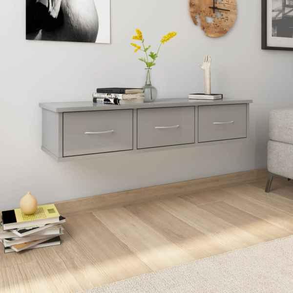vidaXL Dulap de perete cu sertare, gri lucios, 88x26x18,5 cm, PAL