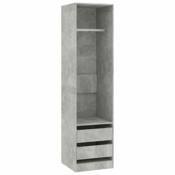 Șifonier cu sertare, gri beton, 50 x 50 x 200 cm, PAL