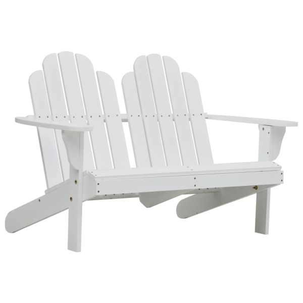vidaXL Scaun Adirondack dublu, alb, lemn