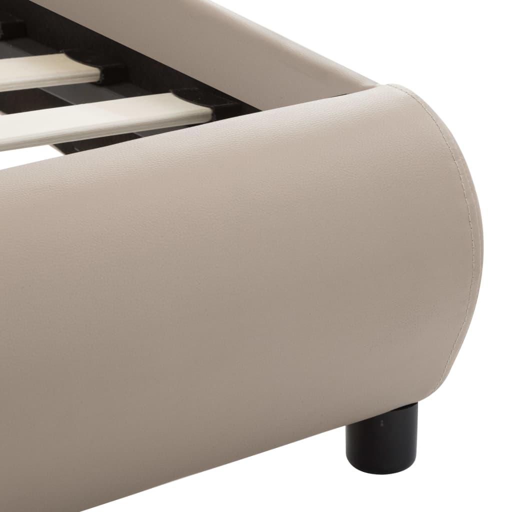 Cadru de pat cu LED, cappuccino, 180 x 200 cm, piele ecologică