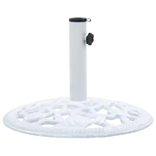 vidaXL Suport de umbrelă, alb, 12 kg, fontă, 48 cm