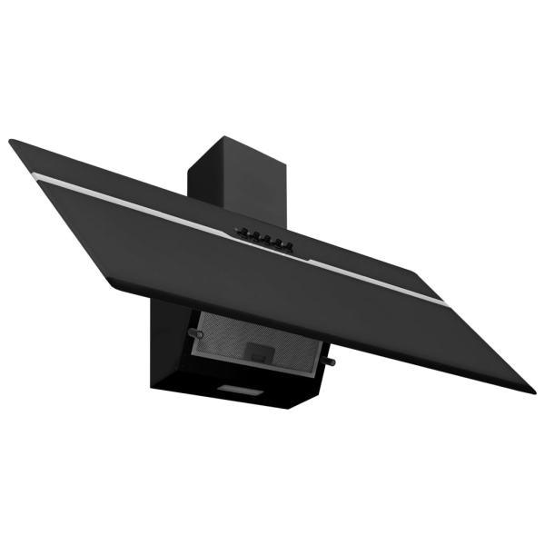 vidaXL Hotă de perete negru 90 cm oțel inoxidabil și sticlă securizată