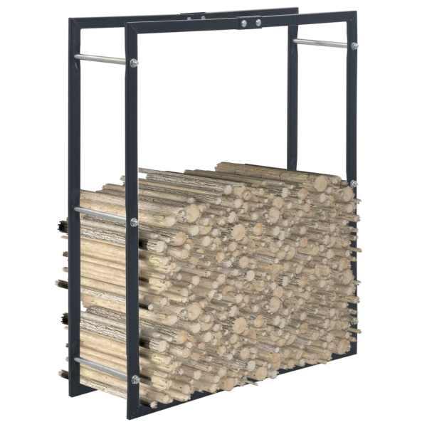 vidaXL Rastel pentru lemne de foc, negru, 80x25x100 cm, oțel