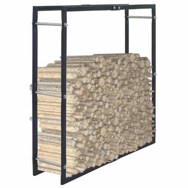 vidaXL Rastel pentru lemne de foc, negru, 100x25x100 cm, oțel