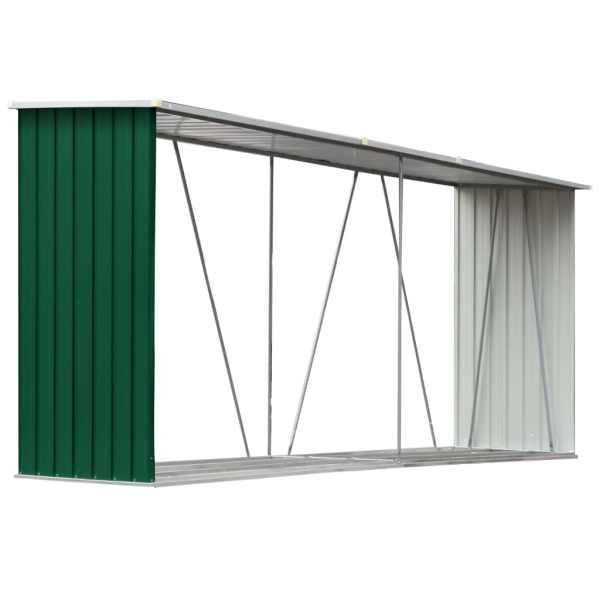 vidaXL Șopron depozitare lemne, verde, 330x84x152 cm, oțel galvanizat