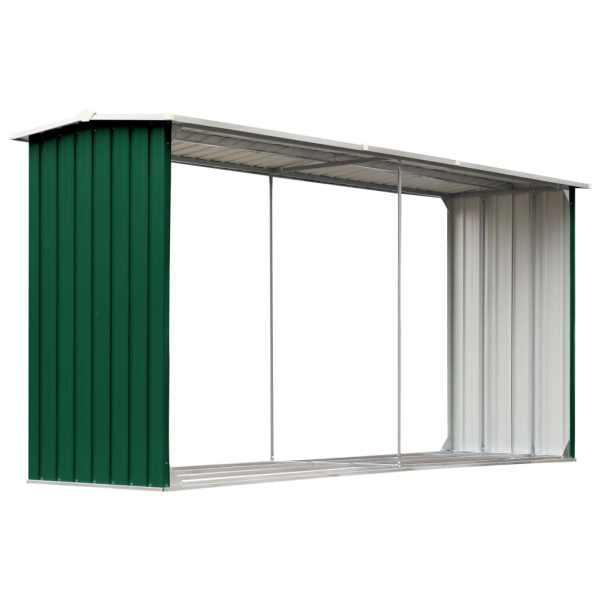 vidaXL Șopron depozitare lemne, verde, 330x92x153 cm, oțel galvanizat