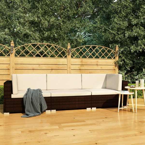 vidaXL Set canapele de grădină cu perne, 3 piese, maro, poliratan