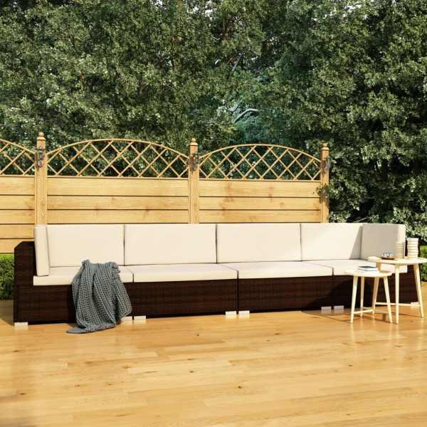 vidaXL Set canapele de grădină cu perne, 4 piese, maro, poliratan