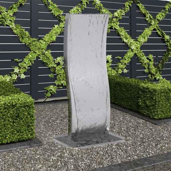 vidaXL Fântână de grădină cu pompă, 90 cm, oțel inoxidabil, curbat