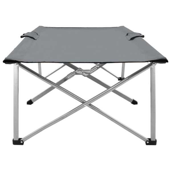 Pat de camping, gri, 206 x 75 x 45 cm