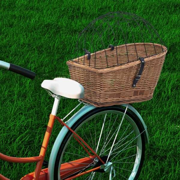 vidaXL Coș portbagaj bicicletă cu capac 55x31x36 cm, răchită naturală