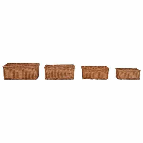 vidaXL Set de coșuri stivuibile, 4 piese, maro, răchită