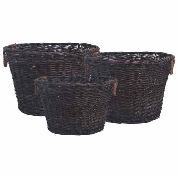 vidaXL Set coșuri pentru lemne de foc stivuibile, maro închis, răchită