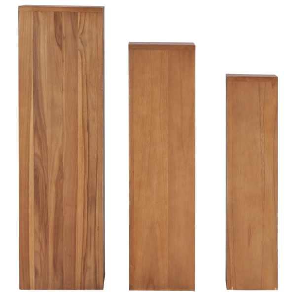Set suporturi de plante, 3 piese, lemn masiv de tec