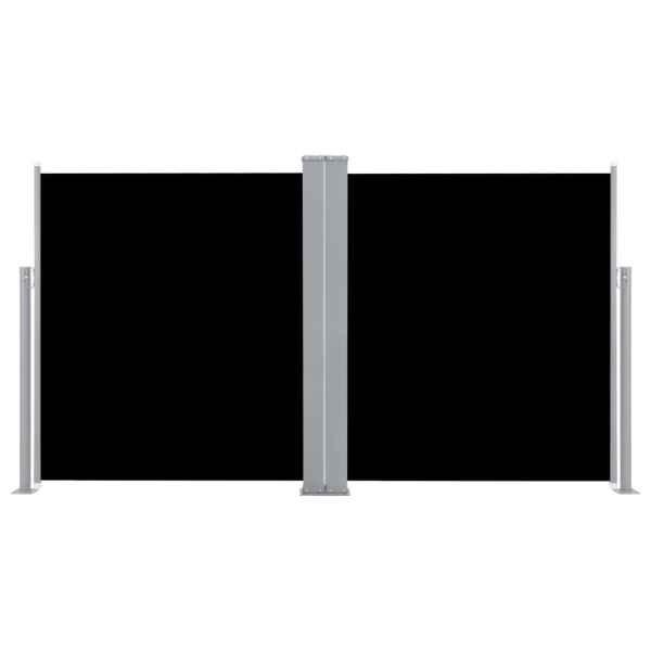 Copertină laterală dublă retractabilă, negru, 170 x 600 cm