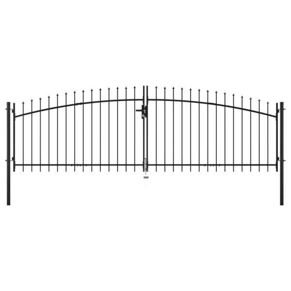 vidaXL Poartă de gard cu două uși, cu vârfuri de suliță, 400 x 200 cm