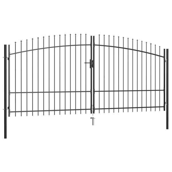 Poartă de gard cu două uși, cu vârfuri de suliță, 400 x 225 cm