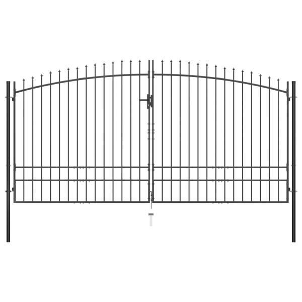 vidaXL Poartă de gard cu două uși, cu vârfuri de suliță, 400 x 248 cm