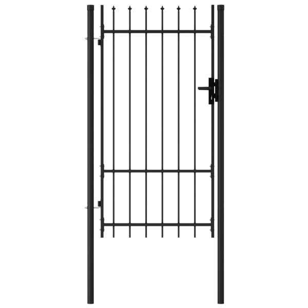 vidaXL Poartă de gard cu o ușă, vârf ascuțit, negru, 1×1,75 m, oțel