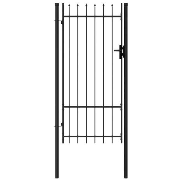 vidaXL Poartă de gard cu o ușă, vârf ascuțit, negru, 1 x 2 m, oțel