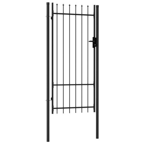Poartă de gard cu o ușă, vârf ascuțit, negru, 1 x 2 m, oțel