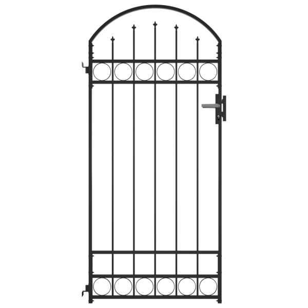 vidaXL Poartă de gard cu arcadă, negru, 89 x 200 cm, oțel