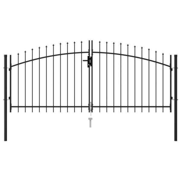 vidaXL Poartă de gard cu ușă dublă vârf ascuțit negru 3×1,25 m oțel