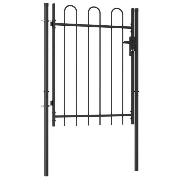 Poartă de gard cu o ușă, vârf arcuit, negru, 1 x 1,2 m, oțel