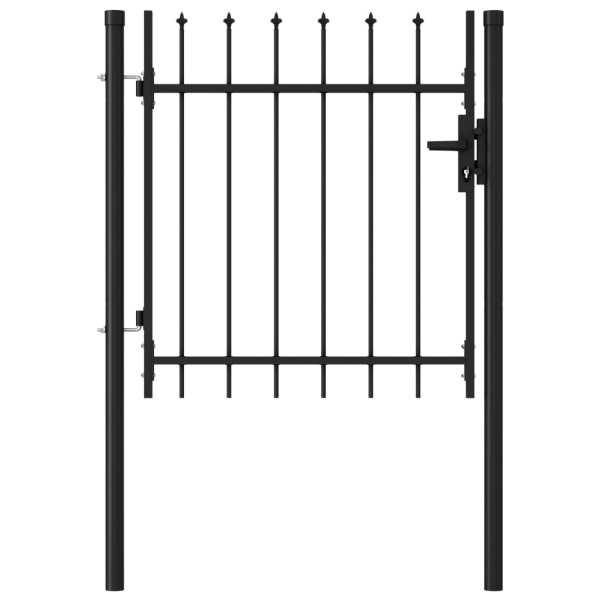 vidaXL Poartă de gard cu o ușă, vârf ascuțit, negru, 1 x 1 m, oțel