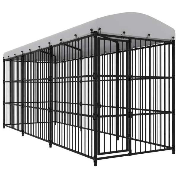 vidaXL Padoc pentru câini de exterior, cu acoperiș, 450 x 150 x 210 cm