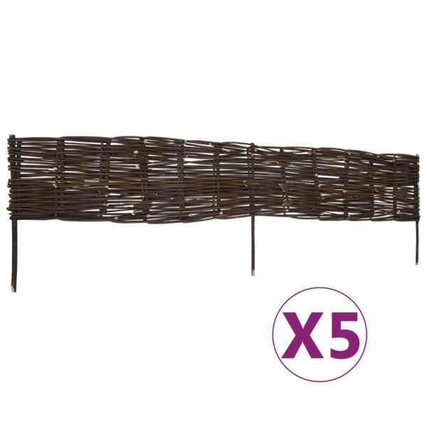 vidaXL Garduri de grădină borduri, 5 buc., 120 x 35 cm, salcie