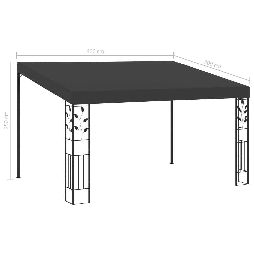Pavilion de perete, antracit, 4 x 3 x 2,5 m