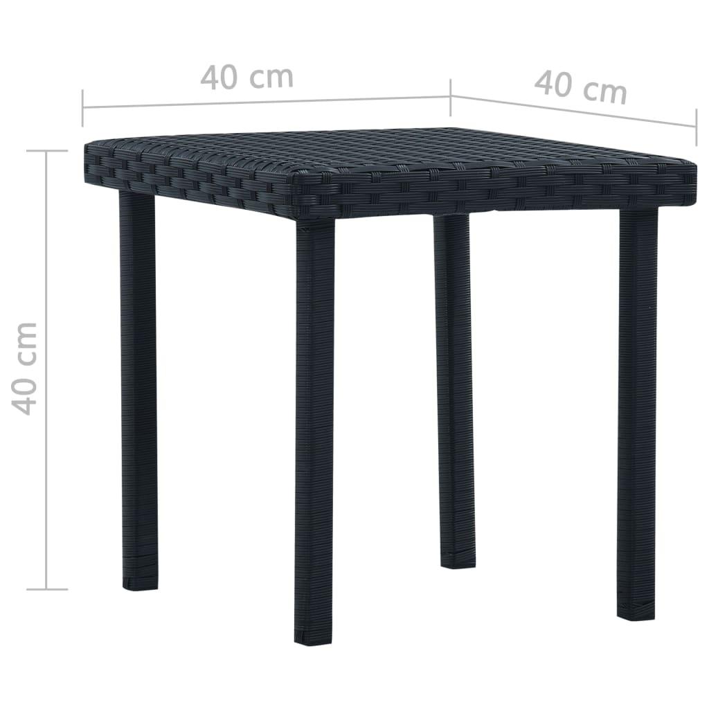 Masă de ceai de grădină, negru, 40 x 40 x 40 cm, poliratan