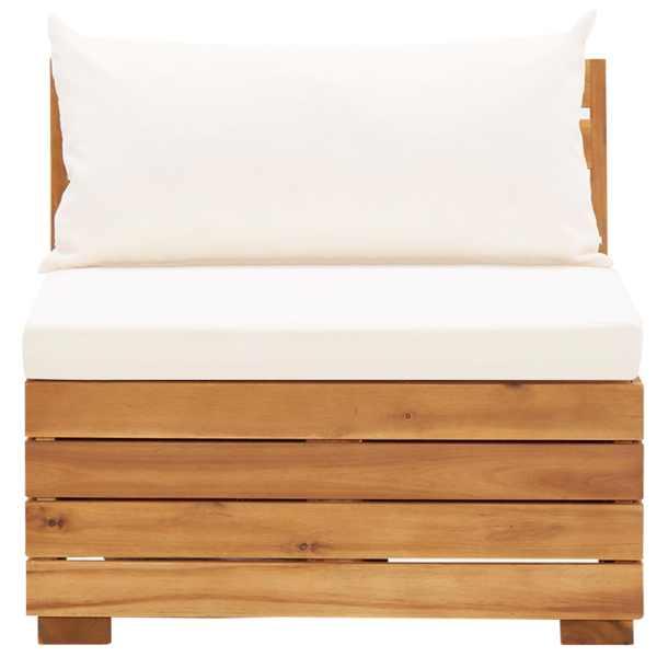 Canapea mijloc modulară cu perne, 1 buc., lemn masiv de acacia