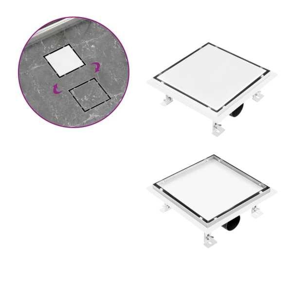 vidaXL Rigolă de duș capac plat gresie 2-în-1 20×20 cm oțel inoxidabil