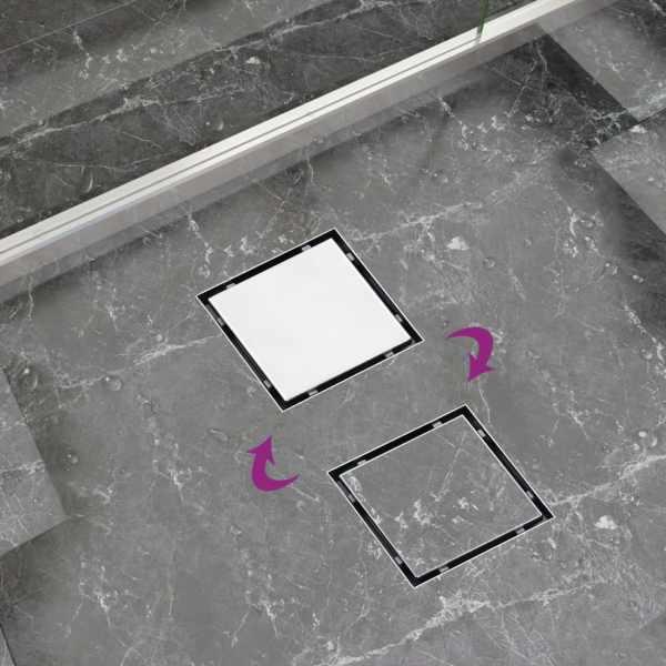 Rigolă de duș capac plat gresie 2-în-1 20×20 cm oțel inoxidabil
