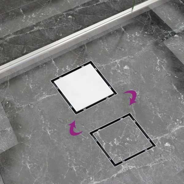 vidaXL Rigolă de duș capac plat gresie 2-în-1 25×25 cm oțel inoxidabil