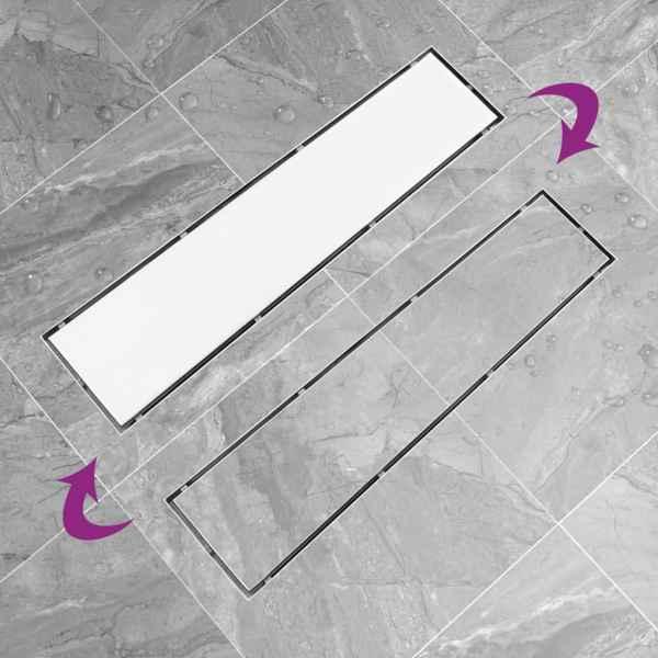Rigolă de duș cu capac 2-în-1, 53 x 14 cm, oțel inoxidabil
