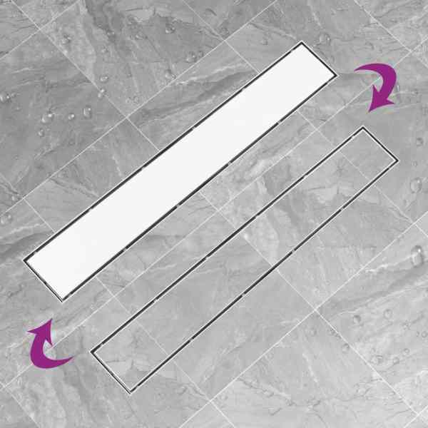 Rigolă de duș cu capac 2-în-1, 83 x 14 cm, oțel inoxidabil