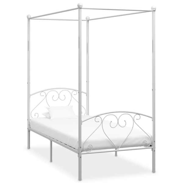 vidaXL Cadru de pat cu baldachin, alb, 100 x 200 cm, metal